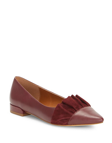 H Halston Leather Ballerina Flats-BORDEAUX-10