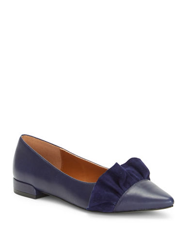 H Halston Ruffled Leather and Suede Ballerina Flats-NAVY-9