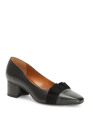 H Halston Kinsley in Taxco Ruffled Leather Pumps-BLACK-8