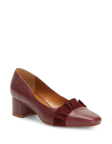 H Halston Kinsley in Taxco Ruffled Leather Pumps-BORDEAUX-6.5