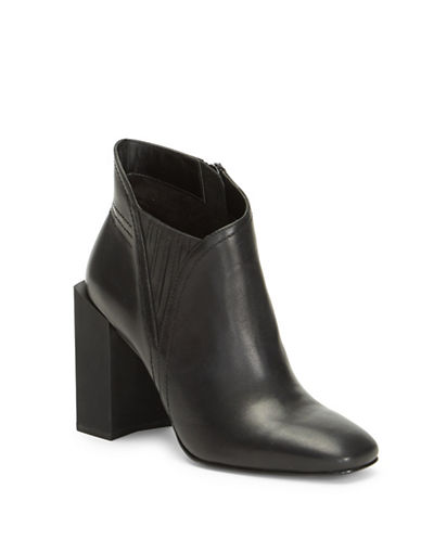 H Halston Asymmetrical Leather Ankle Boots-BLACK-9