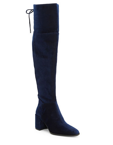 H Halston Khristy in Medina Over-the-Knee Corduroy Boots-NAVY-8.5