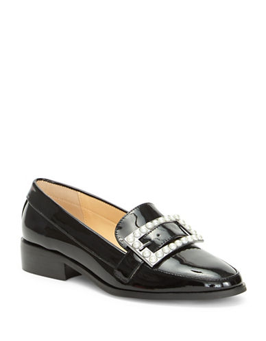 Imnyc Isaac Mizrahi Pat Buckle Leather Loafers-BLACK PATENT-7.5