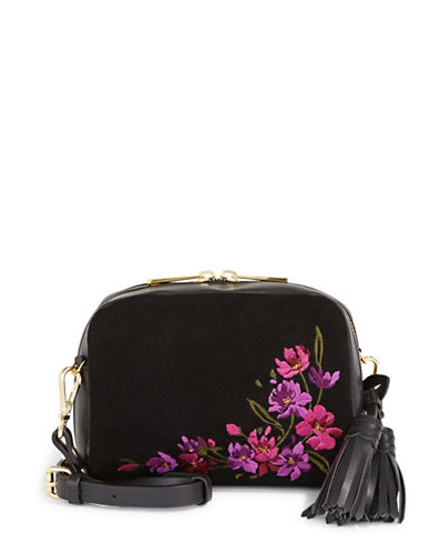 Imnyc Isaac Mizrahi Embroidered Leather Crossbody Bag-BLACK-One Size