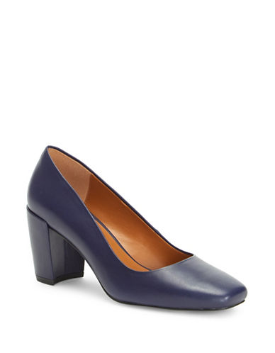 H Halston Whitney Square-Toe Leather Pumps-NAVY-6.5