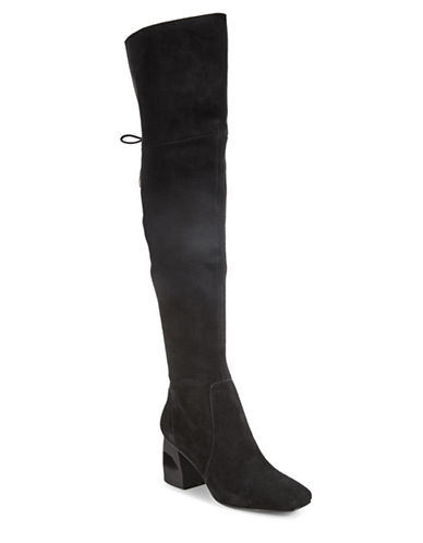 H Halston Sydney Over-The-Knee Suede Boots-BLACK-7.5