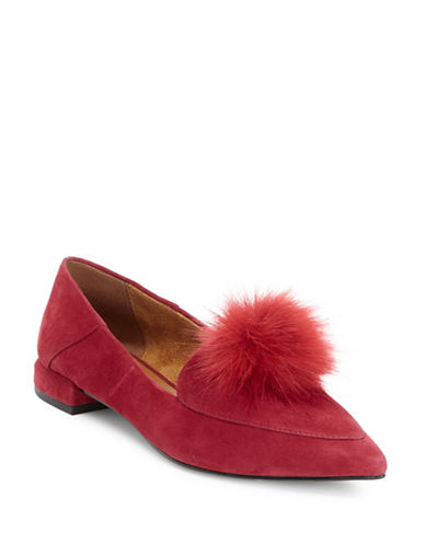 H Halston Suede Loafers with Faux Fur-RED-6.5