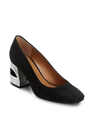 H Halston Krista Grey Suede Pumps-BLACK SUEDE-7