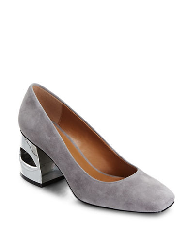 H Halston Krista Grey Suede Pumps-GREY-7.5