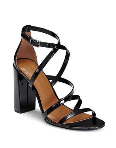 H Halston Metallic Block Heel Sandals-BLACK-9.5