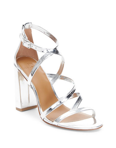 H Halston Metallic Block Heel Sandals-SILVER-8