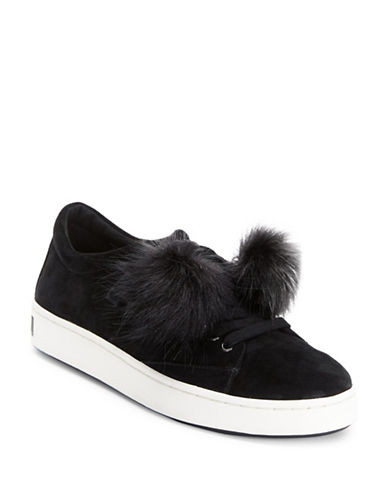 Imnyc Isaac Mizrahi Suede Low Top Sneakers with Faux Fur-BLACK-8.5