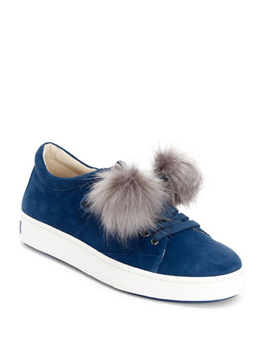 Imnyc Isaac Mizrahi Suede Low Top Sneakers with Faux Fur-NAVY-10