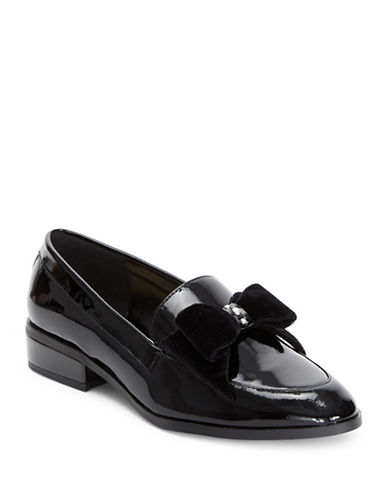 Imnyc Isaac Mizrahi Patent Leather Loafers with Pearl Detail-BLACK PATENT-9.5