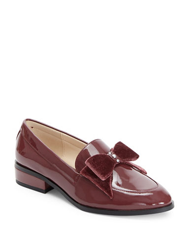 Imnyc Isaac Mizrahi Patent Leather Loafers with Pearl Detail-BORDEAUX-8