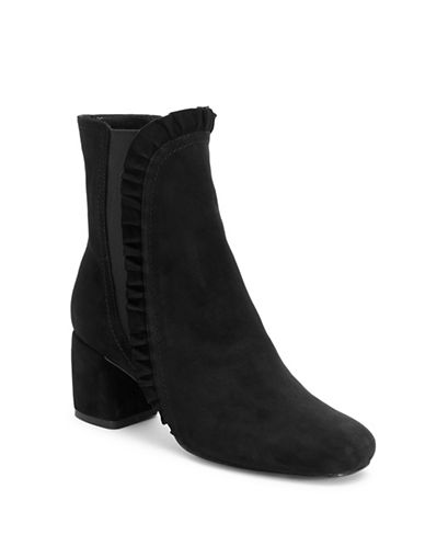 Imnyc Isaac Mizrahi Shelby Suede Ruffle Ankle Boots-BLACK-6.5