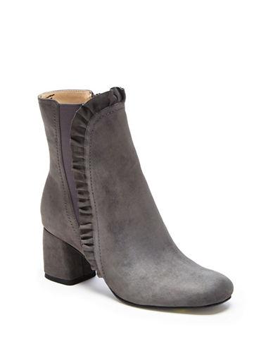Imnyc Isaac Mizrahi Shelby Suede Ruffle Ankle Boots-GREY-6