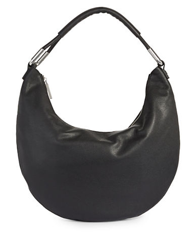 H Halston Large Leather Hobo Bag-BLACK-One Size