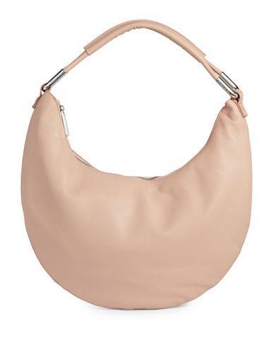 H Halston Large Leather Hobo Bag-BLUSH-One Size