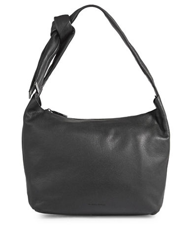 H Halston Leather Hobo Bag-BLACK-One Size