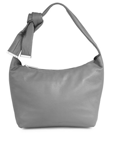 H Halston Leather Hobo Bag-GREY-One Size