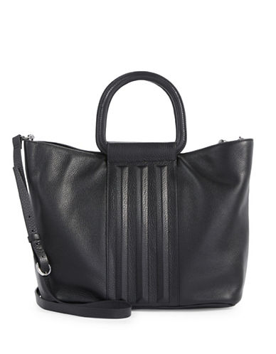 H Halston Large Leather Tote-BLACK-One Size