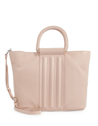 H Halston Large Leather Tote-BLUSH-One Size