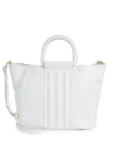H Halston Large Leather Tote-OFF WHITE-One Size