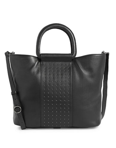 H Halston Studded Leather Tote Bag-BLACK-One Size