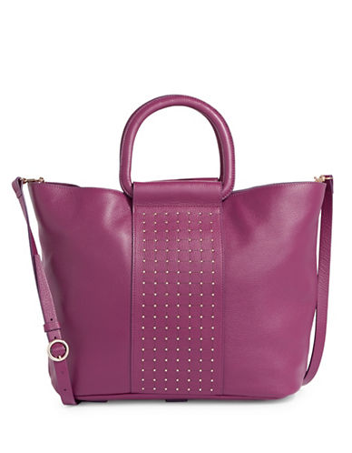 H Halston Studded Leather Tote Bag-RED-One Size