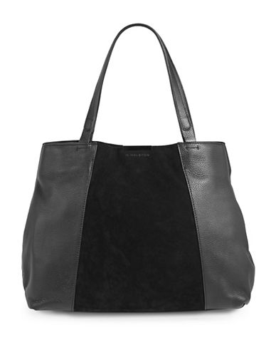 H Halston Leather & Suede Tote-BLACK-One Size