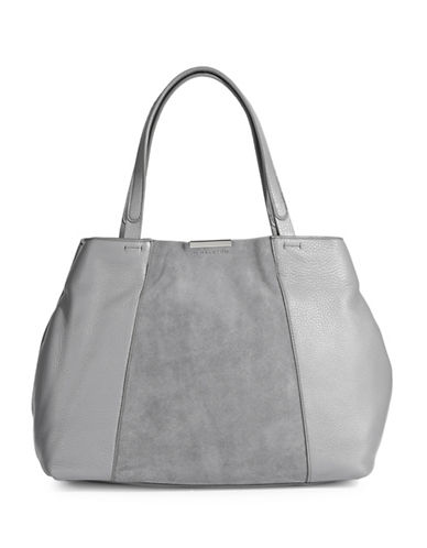 H Halston Leather & Suede Tote-GREY-One Size