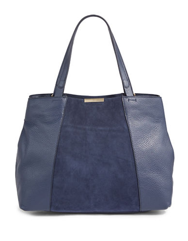 H Halston Leather & Suede Tote-NAVY-One Size