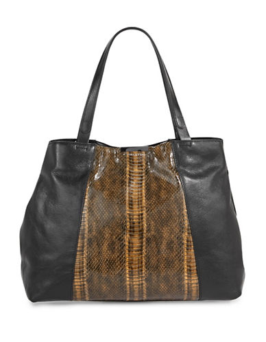 H Halston Exotic Leather Tote-BLACK-One Size