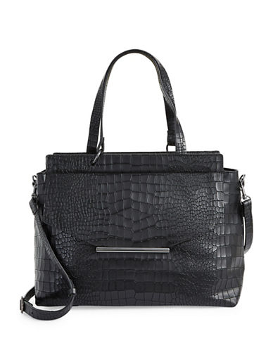 H Halston Croco Embossed Satchel-BLACK-One Size