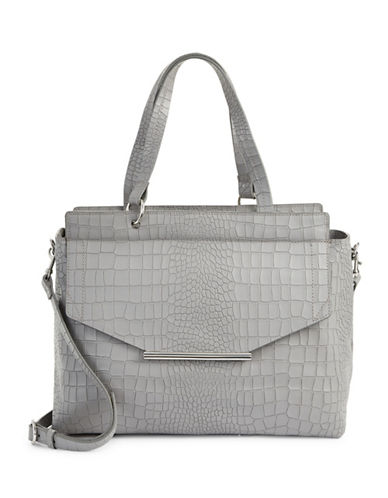 H Halston Croco Embossed Satchel-GREY-One Size