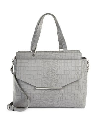 H Halston Croco Embossed Satchel Bag-GREY-One Size