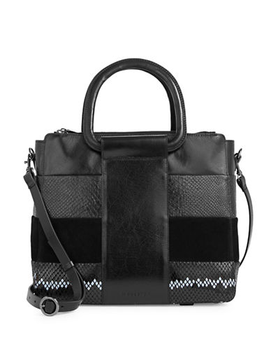 H Halston Mixed Leather Satchel-BLACK-One Size