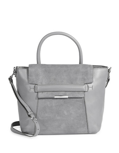 H Halston Leather & Suede Satchel-GREY-One Size