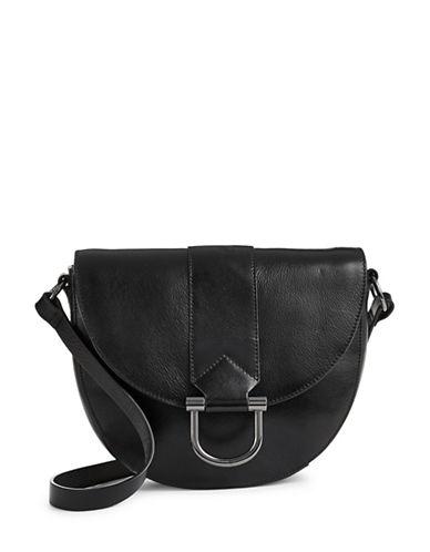 H Halston Leather Buckle Saddle Bag-BLACK-One Size