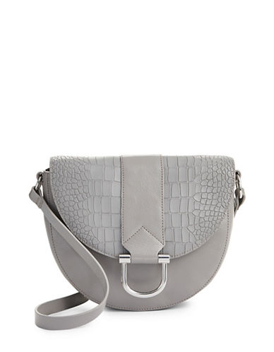 H Halston Croc-Embossed Leather Saddle Bag-GREY-One Size