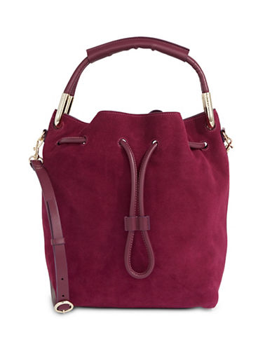 H Halston Felt Bucket Bag-RED-One Size