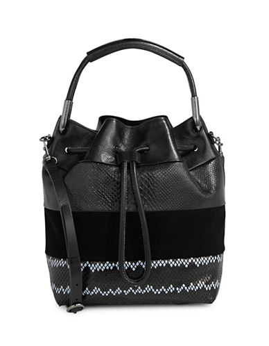 H Halston Mixed Leather Bucket Bag-BLACK-One Size
