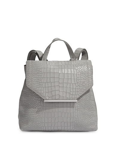 H Halston Croco Embossed Backpack-GREY-One Size