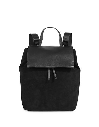H Halston Flap Leather & Suede Backpack-BLACK-One Size