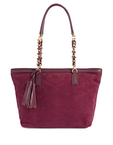 Imnyc Isaac Mizrahi Velvet Chain Strap Tote-RED-One Size