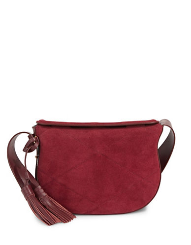 Imnyc Isaac Mizrahi Tasseled Medium Saddle Bag-RED-One Size