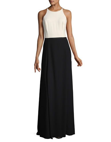 H Halston Sleeveless Halter Gown-BLACK-8