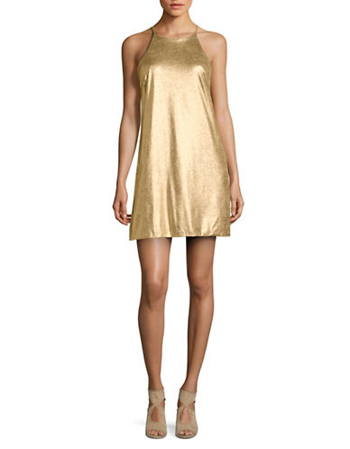 H Halston Short Metallic Cocktail Dress-GOLD-4