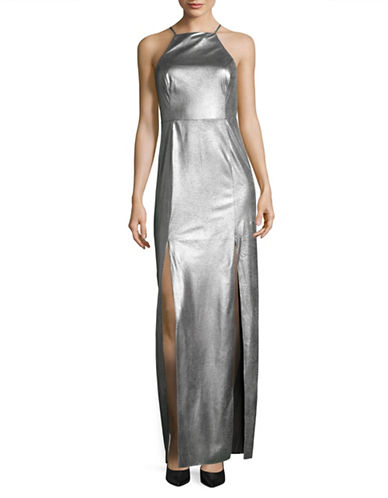 H Halston Long Metallic Cocktail Dress-GUNMETAL-12